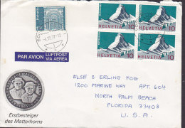 Switzerland PAR AVION Luftpost Via Aerea Label LUZERN 1977 Cover Lettera USA Erstbesteiger Matterhorn Cachet & 4-Block - Otras Cartas