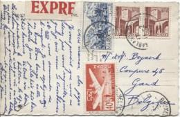 TP Marocains S/CP En Exprès C.Casablanca En 1953 V.Gand Belgique PR2107 - Morocco (1891-1956)