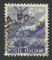 Italy, 6 L. 1947, Sc # 472A, Mi # 695, Used - 5. 1944-46 Lieutenance & Umberto II