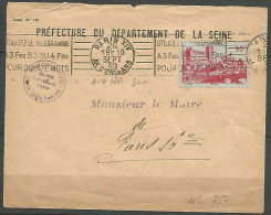 ENVELOPPE FRANCE 1939 AVEC N� 449
