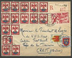 ENVELOPPE RECOMMANDER FRANCE 1949 AVEC PA N°  17 - 1927-1959 Brieven & Documenten