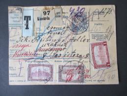 Ungarn 1921 Paketkarte. Hohes Nachporto / Refuse. Nem Fogadta El. Budapest / Kisvarda. 9 Stempel / Nine Cancels.