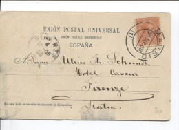 TP Alphonse XIII S/CP Madrid Carrera De San Jeronimo C.Madrid En 1900 V.Firenze C.d'arrivée PR2120 - 1889-1931 Royaume: Alphonse XIII