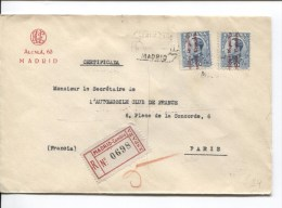 Espana/Spain/Espagne Stamps Alphonse XIII Surcharged Republica Espagnola Certificado Madrid To Paris France PR2121 - 1931-Aujourd'hui: II. République - ....Juan Carlos I
