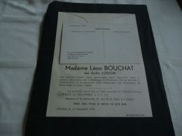 LDM-2 LC118 Lettre de mort Emilia LOSSON BOUCHAT Bouffioulx 1890 Ch�telet Sarte 1952 BERNY LEPAGE BAUDELET BIRON MICHAUX