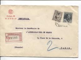 Espana/Spain/Espagne Stamps Alphonse XIII Certificado Madrid Cambio  To Paris France PR2123 - 1889-1931 Kingdom: Alphonse XIII