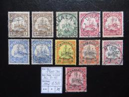 """1900  """" Kolonial-Schiffszeichnung """"   Ohne Wz.    11 Werte  Gestempelt   LOT 638 - Kolonie: Kamerun"""
