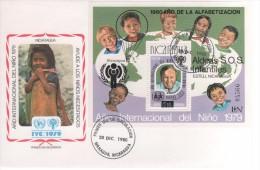 NICARAGUA ANNÉE INTERNATIONALE DE L ENFANT 1979 PREMIER JOUR FDC 20 12 1979 1 BF - UNICEF