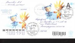W.Olympic 2014  Stationary Cover  Paroll . Mascot  + Stamps + Postmark Registered - Winter 2014: Sochi