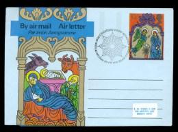 AEROGRAMME AEROGRAM TATIONERY 1975 * UNITED KINGDOM / GREAT BRITAIN * CHRISTMAS * 10 1/2 P 1st DAY CANCEL COW USED - Stamped Stationery, Airletters & Aerogrammes