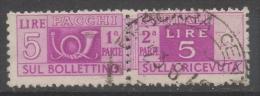 Italia Rep. - Pacchi Postali 5 Lire Ruota I SB 13,25 X 13,25 (Sassone 72) - Colis-postaux