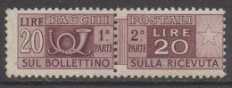 Italia Rep. - Pacchi Postali 20 Lire Ruota I SA 13,25 X 13,25 MNH ** (Sassone 74) - Colis-postaux