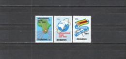 Simbabwe Zimbabwe 1984 Wirtschaft Handelsmesse Messe Ausstellung Karten Erdkugel Flaggen Fahnen Flags, Mi. 286-8 ** - Zimbabwe (1980-...)