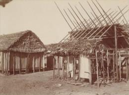 Madagascar Tamatave Construction D'une Case Ancienne Photo 1902