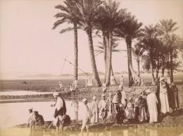 Egypte Paysans Fellah Au Bord Du Nil Ancienne Photo 1880 - Africa