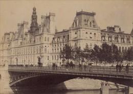 Hotel De Ville Paris Pittoresque Ancienne Photo Instantanée 1885 - Photographs
