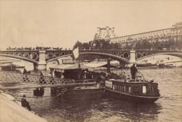 Pont Des Saint Peres Bateaux Taxis Paris Pittoresque Ancienne Photo Instantanée 1885 - Photographs