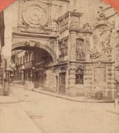 Rouen Tour De La Grosse Horloge Normandie France Ancienne Photo Stereo Neurdein 1880 - Stereoscopic