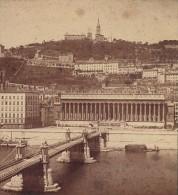 Lyon Palais Rhone Pont Ancienne Photo Stereo Muzet & Joguet 1865 - Photos Stéréoscopiques