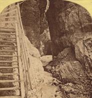 Suisse Grindewald Source De Lutschinen Ancienne Photo Stereo Gabler 1880 - Stereo-Photographie