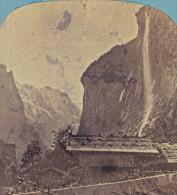 Suisse Vallee De Lauterbrunnen Le Staubach Ancienne Photo Stereo Braun 1870 - Stereoscopic