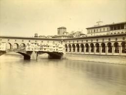 Florence Vue Du Ponte Vecchio Italie Ancienne Photo Albuminée 1880 - Photographs