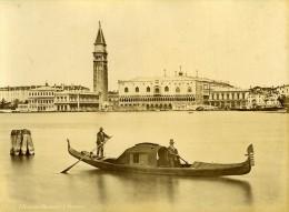 Panorama & Gondole Venise Italie Ancienne Photo Brusa 1880 - Photographs