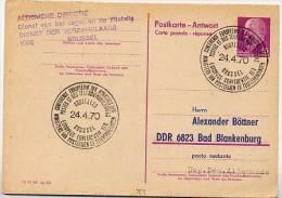 POSTMINISTERKONFERENZ  Brüssel Belgien 1970 Auf DDR P74A Antwort-Postkarte ZUDRUCK #1 - Post