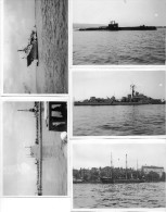 5 Photos 9x12 Bateaux De Guerre: Carron, Sidon, Thermopylae, Ocean, Discovery Très Bon Etat - Boten