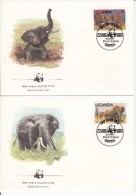 Uganda FDC Scott #371-#374 Set Of 4 African Elephants - WWF - Ouganda (1962-...)