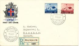 Iceland Registered FDC 11-4-1961 STAMP´s DAY Complete Sent To Denmark Also 1,50 Kr Stamp On The Backside Of The Cover - Tag Der Briefmarke
