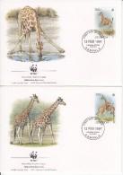 Uganda FDC Scott #1469a-#1469d Set Of 4 Rothschild's Giraffe - WWF - Ouganda (1962-...)