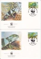 Tonga FDC Scott #752-#755 Set Of 4 Banded Iguana - WWF - Tonga (1970-...)