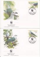 Tokelau FDC Scott #204-#207 Set Of 4 Pacific Imperial Pigeon - WWF - Tokelau