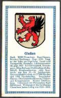 Abdulla Cigarettes - Deutsche Städtewappen 1928. Trade Card/Sammelbild 6x10 Cm : Giessen - Cigarette Cards