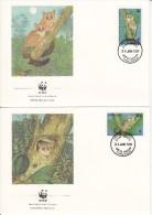 Tanzania FDC Scott #468-#471 Set Of 4 Bushbabies - WWF - Tanzanie (1964-...)