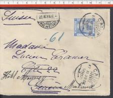 EGYPTE  - 1899 -  AFFRANCHISSEMENT A 1 PASTRE SUR LETTRE DE CAIRO A DESTINATION DE GENEVE, PUIS MONTREUX - SUISSE - - 1866-1914 Khedivato Di Egitto