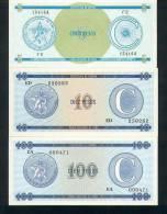 CUBA - FOREIGN EXCHANGE CERTIFICATE, Serie C, Set Pick Nr. FX13, FX22, FX25  UNC ! - Kuba