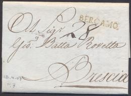 1807 PREFILATELIA LETTERA DA BERGAMO A BRESCIA - QUALITA´ SUPER - VOLLMEIER PT.7 - 1. ...-1850 Prefilatelia