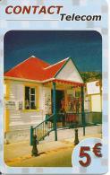 CARTE-PREPAYEE-DOM-TOM-CONTACT TELECOM-5€-CASE-Sans Date-V° GSM 4 Cadres Orange-TBE    - - France