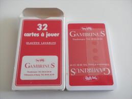 jeu de 32 cartes � jouer  - caves GAMBRINUS - DUNKERQUE VILLENEUVE D'ASCQ  - BIERE