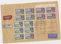 British Registered Letter BELIZE Honduras 5.12.35 Air Mail Express Mif. Mi.105,106,108 To Germany Seiffen (7) - British Honduras (...-1970)