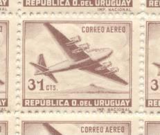 URUGUAY AEREO YVERT NR. 128 MNH 1947-1957 RARO DENTADO 11,5 - ESTA CATALOGADO SOLO EL DE DENTADO 12,5 - Uruguay