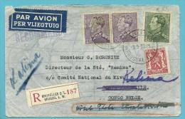 423+431+433 Op Brief Aangetekend Per Luchtpost (par Avion) Met Stempel BRUXELLES Naar KINDU / CONGO-BELGE - 1936-1951 Poortman