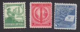 Cub, Scott #356-358, Mint Hinged, Tobacco, Issued 1939 - Cuba