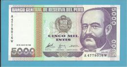 PERU - 5 000 INTIS - 28.06.1988 - Pick 137 - UNC. - MIGUEL GRAU - 2 Scans - Perú