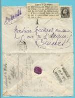 """214 op brief per EXPRES met stempel BRUXELLES naar ANVERS,getaxeerd met """"T"""", strookje REMIS A LA POSTE /Le Desti..(Rare)"""