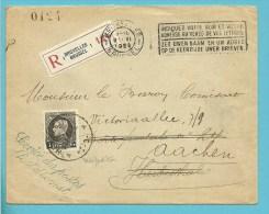 """Ongefrankeerde brief  aangetekend """"Service de Poste"""", Hergefrankeerd met 214 met stempel HERBESTHAL naar Aachen (Rare)!!"""