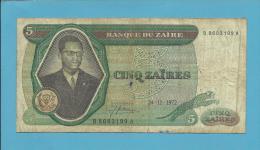 ZAIRE - 5 ZAIRES - 24/11/1972 - Pick 20 - Sign. 3 - Mobutu - 2 Scans - Zaire