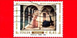 ITALIA - 2005 - Usato -  Natale - 0,45 € • Annunciazione, Opera Di Beato Angelico - 6. 1946-.. Repubblica